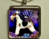 WIRE FOX TERRIER dog night garden 1 inch glass tile pendant with chain