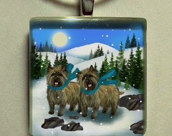 Cairn terrier dogs winter day 1 inch glass tile pendant with chain