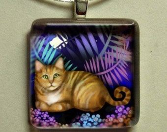 ORANGE TABBY CAT night garden charm dangle beads silver copper gold gift pet art necklace jewelry 1 inch art glass tile pendant with chain