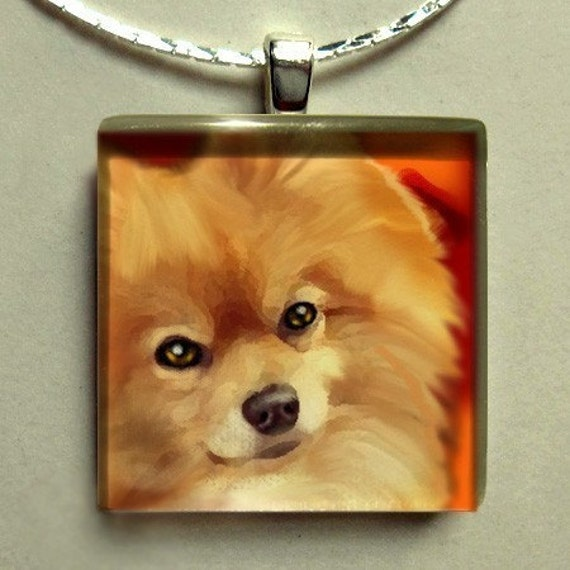 POMERANIAN DOG necklace jewelry pet gift charm 1 inch art glass tile pendant with chain