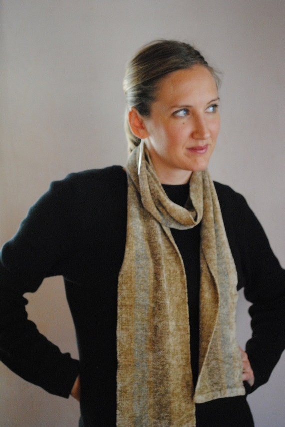 Luscious Tan and Blue Rayon Chenille Scarf
