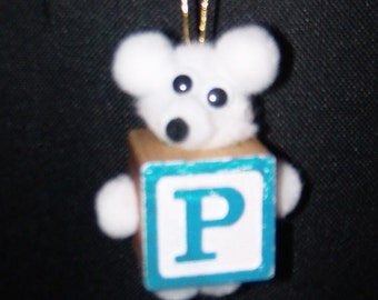 P Teddy Bear Block Ornament For Present Tags Hanging Wooden Block Spelling ABC's