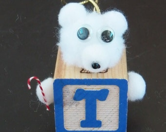 Letter T Teddy Bear Block Ornament or Gift Tag for Presents
