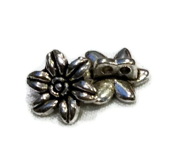 21 Flower Slides Jewelry 2 hole Metal Buttons 10 mm