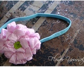 Fabric Flower Headband. Shabby chic Vintage rolled fabric headband. Pink Teale, for  toddler to adult. HALF PRICE