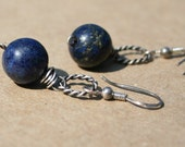 Dangle Earrings Lapis Lazuli Stones and Oxydized Sterling Silver Blue