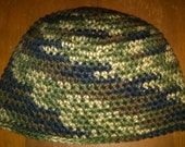 Hat - Camo Mens Beanie Crocheted Hat Multi colored