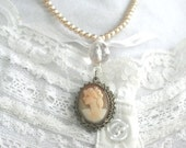 Necklace Vintage Cameo in Sterling Silver Wedding Prom Pearls and Chain