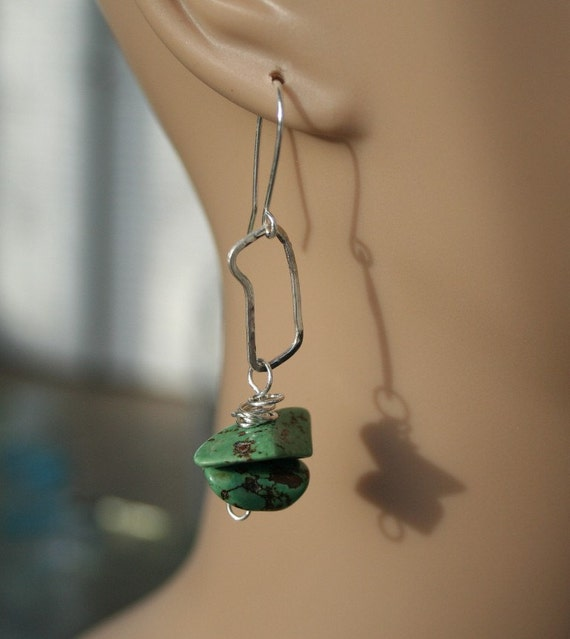 Dangle Earrings . Green Turquoise . Hand  Wrought Sterling . 2 3/4 inches