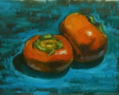 Persimmons still life in oils