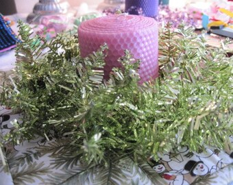 Pink Beeswax Candle with a Green Tinsel Ring
