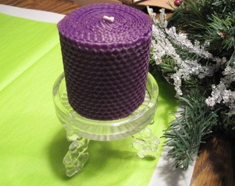 """Deep Purple 3"""" Beeswax Candle on a Clear Glass Holder"""