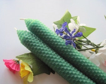 Emerald Green Beeswax Candles