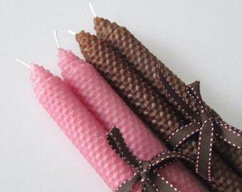 Pink and Brown Beeswax Candles