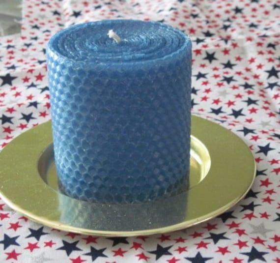 Medium Blue Beeswax Pillar