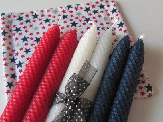 Red, White, and Blue Beeswax Candles