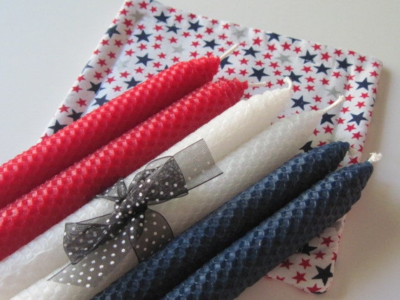 Beeswax Candles, Red Beeswax Candles, White Beeswax Candles, Blue Beeswax Candles, Holiday Beeswax Candles, Beeswax Tapers, Patriotic Candle
