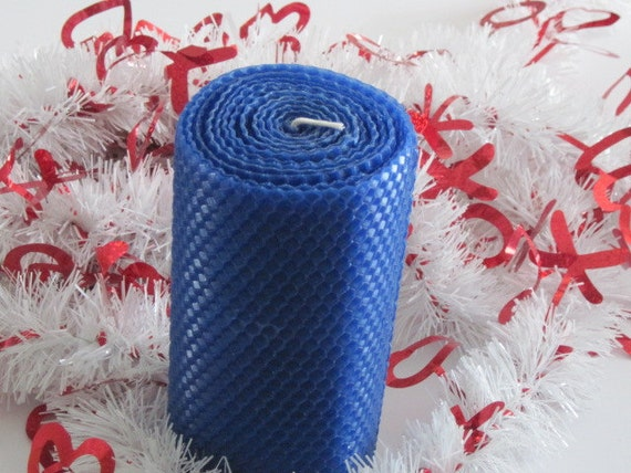 Cobalt Blue Beeswax Pillar Candle