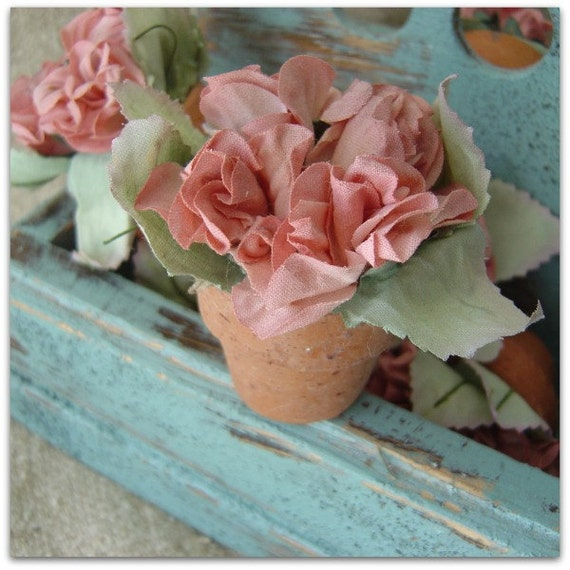 Set of 9 Vintage Miniature Terracotta Pots with Wired Flowers