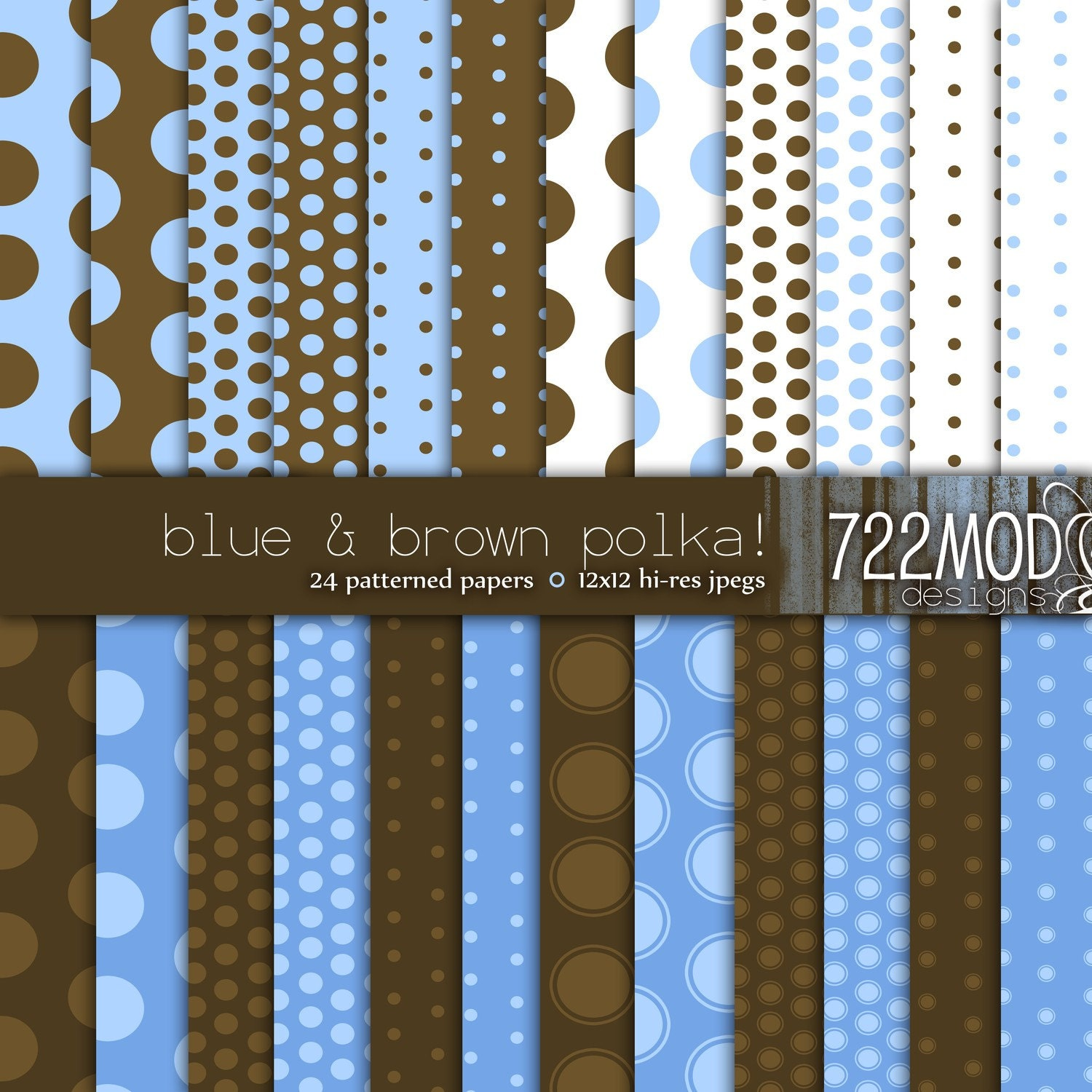 Blue and Brown Polka Dots Digital Background Paper Pack