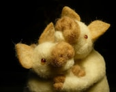 Pigs In Love, Needle Felted OOAK Adoreable