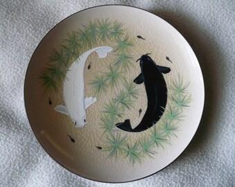 Beautiful Koi Art Plate Ying Yang