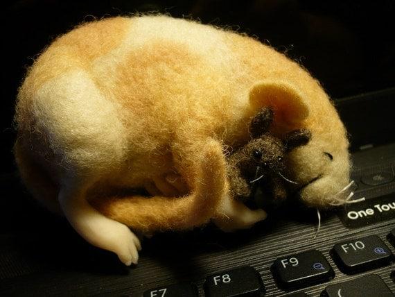 Adoreable Rat Sleeping with his Little Bunny, Needle Felted, Felting OOAK