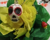 Day Of The Dead Sugar Skull Necklace Pendant- Hand painted Polymer Clay White/Red
