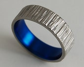 Titanium Ring , Mens Wedding Band , Jupiter Band in Nightfall Blue