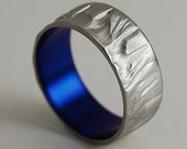 Mens Titanium Ring , Mercury Band in Nightfall Blue