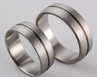 Titanium Rings , Wedding Bands , Promise Rings , Orion Bands with Regular Fit Interiors