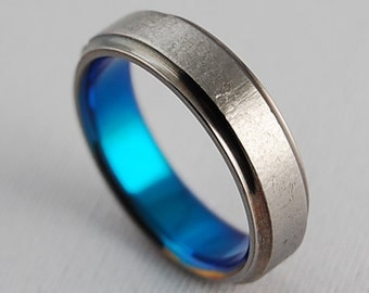 Mens Titanium Ring , Wedding Band , Promise Ring , Neptune Band in New Beginning Blue