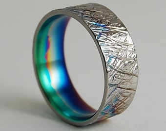 Titanium Ring , Wedding Band , Titanium Wedding Ring , Titanium Wedding Band , Promise Ring , Saturn Band with Multi-color Fade