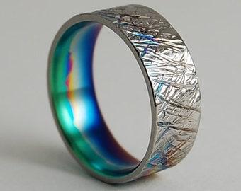 Titanium Ring , Wedding Band , Titanium Wedding Ring , Titanium Wedding Band , Promise Ring , Saturn Band with Multi-color Fade