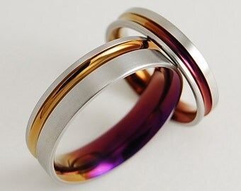 Wedding Bands , Titanium Rings , Titanium Wedding Ring Set , Promise Rings , The Cosmos Bands in Bronze and Purple Wine