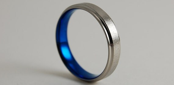 Mens Titanium Ring , Wedding Band , Neptune Band in Nightfall Blue with Comfort Fit