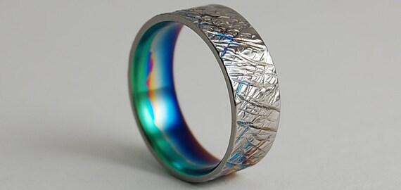 Titanium Ring , Saturn Band with Muticolor Fade