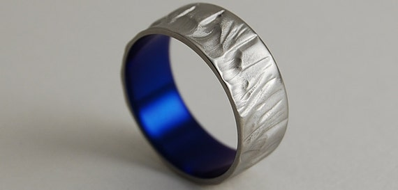 Mens Titanium Ring , Mens Titanium Wedding Band , Mens Titanium Ring , Promise Ring , Mercury Band in Nightfall Blue