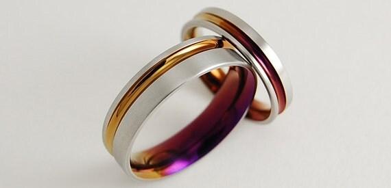 wedding bands titanium rings titanium wedding ring set promise rings the cosmos - Titanium Wedding Ring Sets