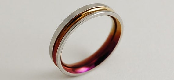 Wedding Band , Titanium Ring , The Cosmos Band with Comfort fit