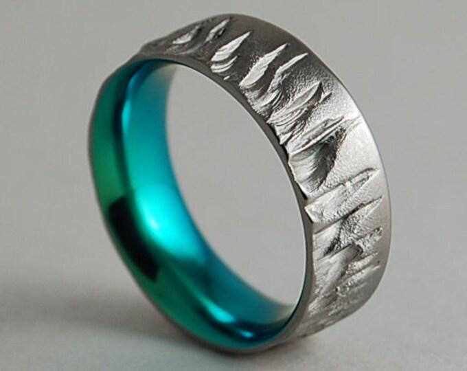 Featured listing image: Titanium Ring , Wedding Band , Promise Ring , Mens Titanium Wedding Ring , Mens Titanium Wedding Band , Mercury Band in Immortal Green