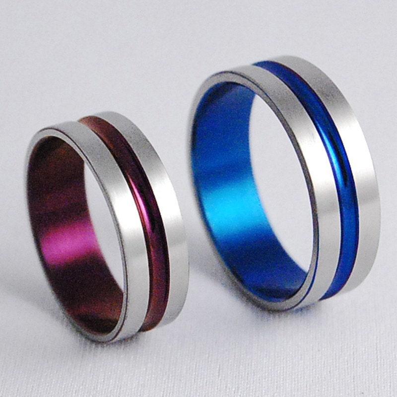 88 colored titanium wedding bands