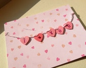 I Love You Scalloped Heart Banner Card