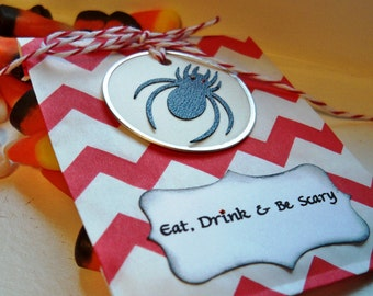 Customizable Spider Halloween Treat and Gift Bag Set in Red and White Chevron