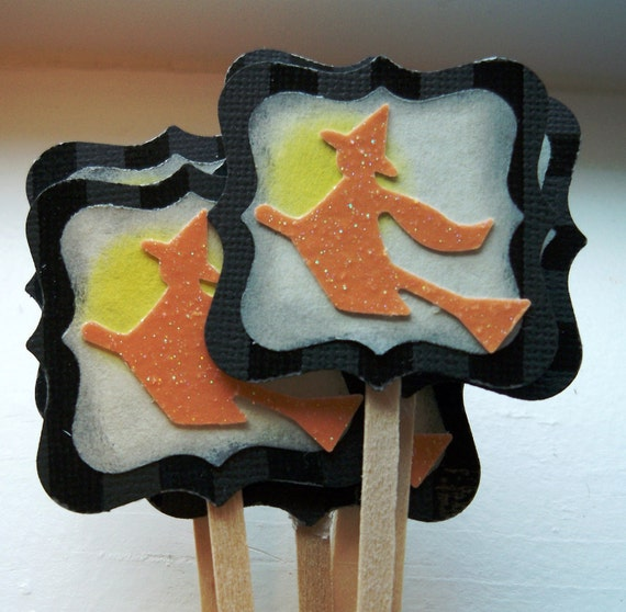 Halloween Flying Witch Black and Orange Cupcake or Cake Toppers - Set of 12