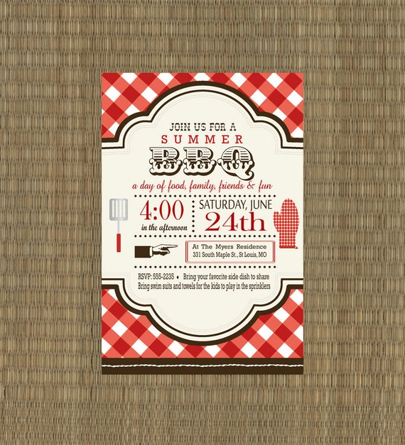 Items Similar To Printable Bbq Invitation