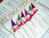 Vintage Clown Circus Cake Pikes, Set of Six