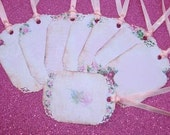 Shabby Chic Gift Tag set of 8  No.59 Pink & Chocolate Background Roses Fancy Edge
