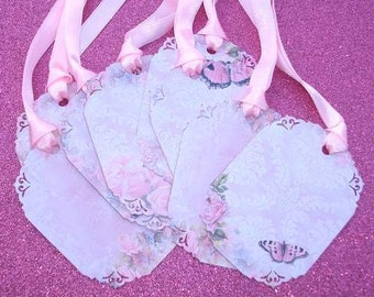 Romantic Dusty Rose Gift Tags set of 8 Shabby Chic  no.37