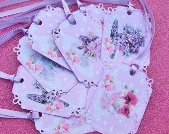 Shabby Chic Lavender Tea Cups with Posies Gift Tags set of 8 No.115  DOUBLES